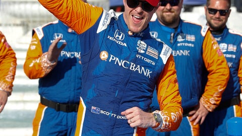 <p>               Scott Dixon, of New Zealand, celebrates after winning the second race of the IndyCar Detroit Grand Prix auto racing doubleheader in Detroit, Sunday, June 2, 2019. (AP Photo/Paul Sancya)             </p>