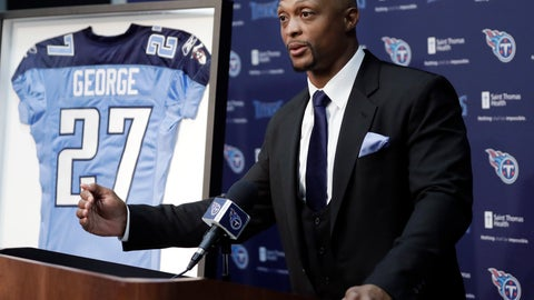 <p>               Former Tennessee Titans running back Eddie George speaks during an announcement at the Titans' NFL football training facility Wednesday, June 12, 2019, in Nashville, Tenn., that his number will be retired. The team will retire George's No. 27 and former quarterback Steve McNair's No. 9 on Sept. 15 at their home opener against the Indianapolis Colts. (AP Photo/Mark Humphrey)             </p>