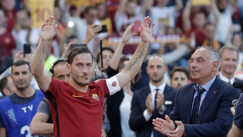 "<p>               FILE - In this Sunday, May 28, 2017 file photo, Roma President James Pallotta, right, applauds as Francesco Totti waves to his fans after an Italian Serie A soccer match between Roma and Genoa at the Olympic stadium in Rome. Former Roma captain Francesco Totti has announced, Monday, June 17, 2019, that he is leaving his position within Roma's management because his views were not taken into consideration. Totti says that he ""never had the chance to express myself"" in decisions over the hiring and firing of coaches and moves in the player transfer market. Speaking at an extraordinary news conference at the Italian Olympic Committee, Totti says ""it's a day that I hoped never would have come."" (AP Photo/Alessandra Tarantino, File)             </p>"