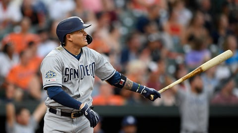 <p>               San Diego Padres' Manny Machado watches his home run during the third inning of a baseball game against the Baltimore Orioles, Tuesday, June 25, 2019, in Baltimore. (AP Photo/Nick Wass)             </p>