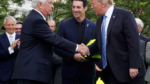 <p>               FILE - In this Monday, June 10, 2019, file photo, President Donald Trump shakes hands with racing team owner Roger Penske, left, as driver Simon Pagenaud watches on the South Lawn at the White House in Washington, as the president honored Team Penske for winning the 2019 Indianapolis 500 auto race. President Trump said Thursday, June 20, 2019, that he's awarding a Presidential Medal of Freedom to Penske, the most powerful man in American motorsports. (AP Photo/Patrick Semansky, File)             </p>