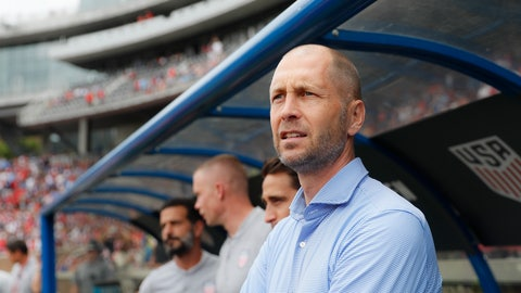 <p>               United States head coach Gregg Berhalter stands on the sideline before an international friendly soccer match against Venezuela, Sunday, June 9, 2019, in Cincinnati. (AP Photo/John Minchillo)             </p>