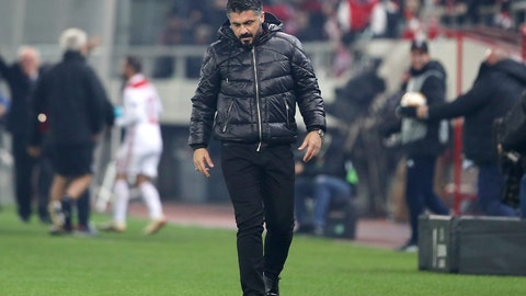 <p>               FILE - In this Dec. 13, 2018 file photo, then AC Milan coach Gennaro Gattuso walks during a Group F Europa League soccer match between Olympiakos and AC Milan at Georgios Karaiskakis stadium in the port of Piraeus, near Athens. AC Milan's decision Friday, June 28, 2019 to voluntarily remove itself from next season's Europa League to pay for UEFA financial fair play breaches has received the consent of the Court of Arbitration for Sport. (AP Photo/Petros Giannakouris, file)             </p>