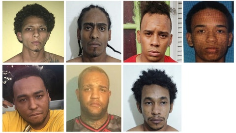 <p>               This combination of photos provided by the Dominican Republic National Police on Wednesday, June 12, 2019 show suspects in connection with the shooting of former Red Sox star David Ortiz in Santo Domingo, Dominican Republic. Police identify the men as, top row from left, Rolfy Ferreyra, who has been identified as the shooter, Joel Rodriguez Cruz, Oliver Moises Mirabal Acosta, and Eddy Vladimir Feliz Garcia. Bottom row from left, Polfirio Allende Dechamps Vazquez, Luis Alfredo Rivas Clase and Reynaldo Rodriguez Valenzuela. All the men with the exception of Rivas Clase have been detained. (Dominican Republic National Police via AP)             </p>