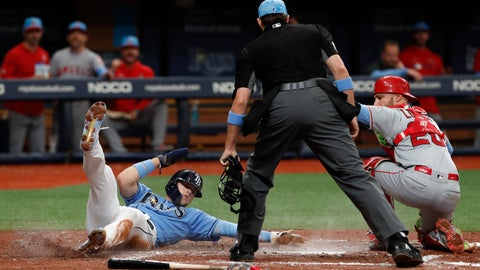 <p>               Tampa Bay Rays' Austin Meadows, left, is tagged out at home by Los Angeles Angels catcher Mike Zunino during the third inning of a baseball game Sunday, June 16, 2019, in St. Petersburg, Fla. (AP Photo/Scott Audette)             </p>