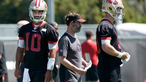<p>               San Francisco 49ers quarterback Jimmy Garoppolo (10) and quarterback C.J. Beathard, right, watch during drills at the team's NFL football training facility in Santa Clara, Calif., Tuesday, June 11, 2019. (AP Photo/Tony Avelar)             </p>