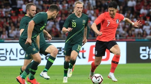 <p>               South Korea's Son Heung-min, right, is challenged by Australia's Bailey Wright, left, and James Jeggo, second right, during a friendly soccer match between South Korea And Australia at the Busan Asiad Main Stadium in Busan, South Korea, Friday, June 7, 2019. (Han Jong-chan/Yonhap via AP)             </p>
