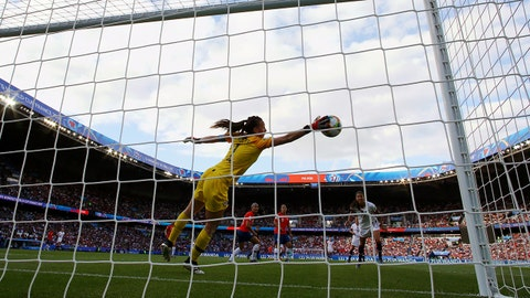 PARIS, FRANCE - JUNE 16:  Claudia Endler of Chile makes a save during the 2019 FIFA Women's World Cup France group F match between USA and Chile at Parc des Princes on June 16, 2019 in Paris, France. (Photo by Richard Heathcote/Getty Images)