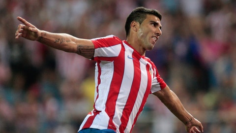 """<p>               FILE -  In this file photo dated Thursday, July 28, 2011, Atletico de Madrid's Jose Antonio Reyes celebrates after scoring his second goal against Stromsgodset during a UEFA Europa League soccer match at the Vicente Calderon stadium in Madrid.  Sevilla said in a statement Saturday June 1, 2019, that former Spain midfielder José Antonio Reyes, who won five Europa League titles and was part of Arsenal's unbeaten """"Invincibles"""" squad, has been killed in a traffic accident at the age of 35. (AP Photo/Arturo Rodriguez, FILE)             </p>"""