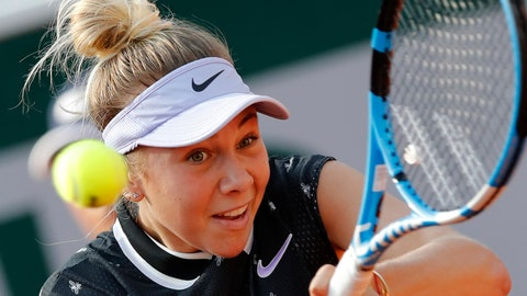 <p>               Amanda Anisimova of the U.S. plays a shot against Spain's Aliona Bolsova during their fourth round match of the French Open tennis tournament at the Roland Garros stadium in Paris, Monday, June 3, 2019. (AP Photo/Christophe Ena)             </p>