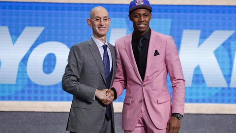 <p>               Duke's RJ Barrett, right, poses for photographs with NBA Commissioner Adam Silver after being selected as the third pick overall by the New York Knicks during the NBA basketball draft Thursday, June 20, 2019, in New York. (AP Photo/Julio Cortez)             </p>