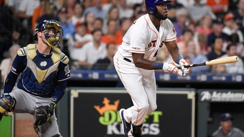 <p>               Houston Astros designated hitter Yordan Alvarez, right, watches his two-run home run off Milwaukee Brewers relief pitcher Matt Albers during the fifth inning of a baseball game, Tuesday, June 11, 2019, in Houston. (AP Photo/Eric Christian Smith)             </p>