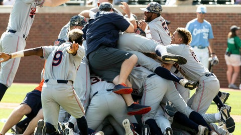 <p>               Auburn celebrates their victory over North Carolina in an NCAA college super regional baseball game in Chapel Hill, N.C., Monday, June 10, 2019. (AP Photo/Ben McKeown)             </p>