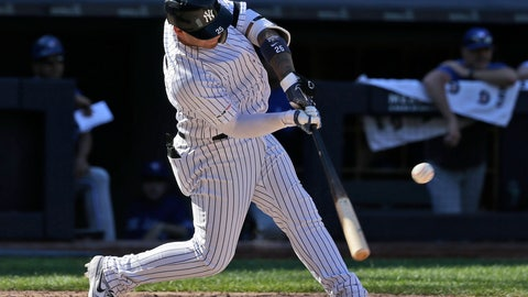 <p>               New York Yankees' Gleyber Torres hits a walk-off RBI single during the ninth inning of a baseball game against the Toronto Blue Jays at Yankee Stadium, Wednesday, June 26, 2019, in New York. The Yankees defeated the Blue Jays 8-7. (AP Photo/Seth Wenig)             </p>