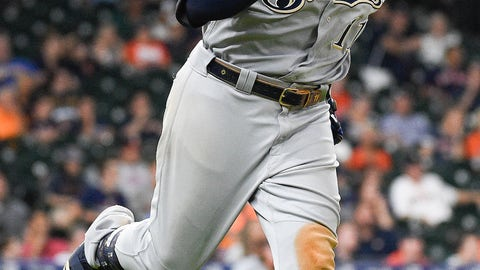<p>               Milwaukee Brewers' Mike Moustakas runs the bases after hitting a two-run home run off Houston Astros relief pitcher Cionel Perez during the 14th inning of a baseball game Wednesday, June 12, 2019, in Houston. (AP Photo/Eric Christian Smith)             </p>