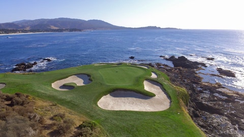 <p>               This Nov. 8, 2018 photo shows an aerial view of the seventh green of the Pebble Beach Golf Links in Pebble Beach, Calif. The U.S. Open golf tournament is scheduled at Pebble Beach from June 13-16, 2019. (AP Photo/Terry Chea)             </p>
