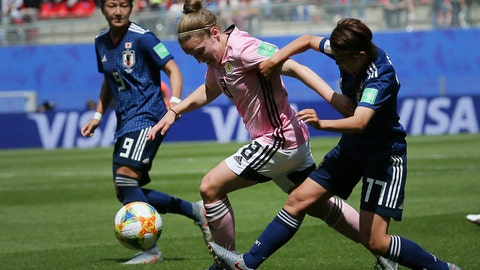 <p>               Scotland's Kim Little, center, vies for the ball with Japan's Narumi Miura, right, and Japan's Yuika Sugasawa, left, during the Women's World Cup Group D soccer match between Japan and Scotland at the Roazhon Park in Rennes, France, Friday, June 14, 2019. (AP Photo/David Vincent)             </p>
