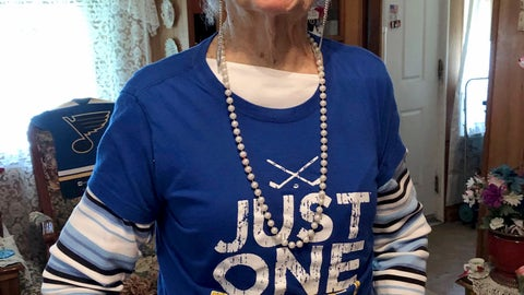 """<p>               St. Louis Blues fan Marge Kirchhoefer poses for a portrait in her St. Louis home, Thursday, June 13, 2019. At age 100, Kirchhoefer is among the oldest St. Louis Blues fans, and now that they're Stanley Cup champions, she knows exactly how she'll celebrate. She plans to drink champagne and says she """"may get loaded."""" There's a lot of that going around in St. Louis, now that the Blues have knocked off the Boston Bruins to win their first NHL championship since they arrived as an expansion team 52 years ago. (AP Photo/Jim Salter)             </p>"""