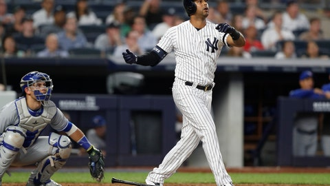 <p>               Toronto Blue Jays catcher Luke Maile, left, watches from behind the plate as New York Yankees' Aaron Hicks reacts after hitting a three-run home run during the fifth inning of a baseball game, Monday, June 24, 2019, in New York. (AP Photo/Kathy Willens)             </p>