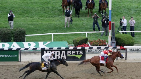 <p>               FILE - In this Saturday, June 9, 2018, file photo, Justify (1), with jockey Mike Smith up, crosses the finish line to win the Triple Crown at the 150th running of the Belmont Stakes horse race, in Elmont, N.Y. Gronkowski (6), with jockey Jose Ortiz up, finished second. The home of the Belmont is laps ahead of other racetracks around the country when it comes to safety measures to keep horses and jockeys safe. (AP Photo/Mel Evans, File)             </p>