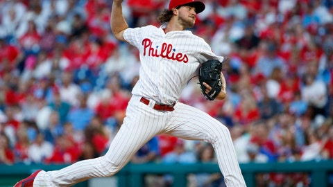 <p>               Philadelphia Phillies' Aaron Nola pitches during the third inning of a baseball game against the Miami Marlins, Friday, June 21, 2019, in Philadelphia. (AP Photo/Matt Slocum)             </p>