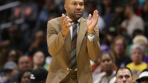 <p>               FILE - In this May 31, 2019, file photo, Los Angeles Sparks' head coach Derek Fisher claps for his team during the first half of a WNBA basketball game against the Connecticut Sun, in Los Angeles. Fisher admitted he learned a lot from his failed stint as coach of the New York Knicks. He's taking those lessons over to his new role as the head of the Los Angeles Sparks. (AP Photo/Marcio Jose Sanchez, File)             </p>