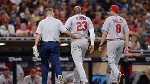 <p>               St. Louis Cardinals' Marcell Ozuna, center, leaves the field accompanied by a trainer and Mike Shildt during the third inning of a baseball game against the San Diego Padres, Friday, June 28, 2019, in San Diego. (AP Photo/Orlando Ramirez)             </p>
