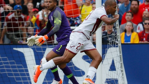 <p>               United States goalkeeper Zack Steffen (1) reacts after being scored on by Venezuela forward Jose Salomon Rondon (23) during the first half of an international friendly soccer match, Sunday, June 9, 2019, in Cincinnati. (AP Photo/John Minchillo)             </p>