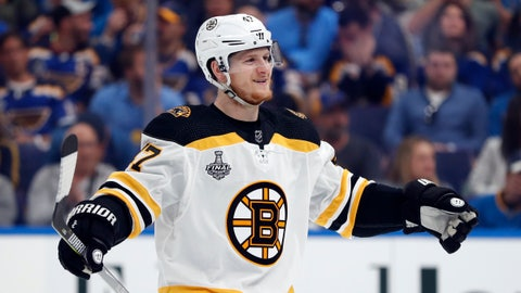 <p>               FILE - In this June 1, 2019, file photo, Boston Bruins defenseman Torey Krug celebrates a teammate's goal against the St. Louis Blues during the first period of Game 3 of the NHL hockey Stanley Cup Finals, in St. Louis. Patrice Bergeron wins the faceoff and Jake DeBrusk retrieves the puck for Torey Krug, who waits just long enough for Bergeron to set up and shoots it at his stick for a textbook deflection goal. This is the Boston Bruins' masterful power play at its nearly unstoppable best. (AP Photo/Jeff Roberson, File)             </p>