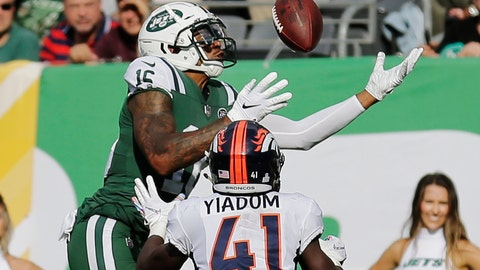 <p>               FILE - In this Oct. 7, 2018, file photo, New York Jets' Terrelle Pryor (16) leaps over Denver Broncos' Isaac Yiadom (41) to catch a pass for a touchdown during the second half of an NFL football game in East Rutherford, N.J. The Jacksonville Jaguars have signed journeyman receiver Terrelle Pryor, giving the team more depth and experience at the position. Pryor signed a one-year deal Monday, June 3, 2019, and was expected to practice during organized team activities.(AP Photo/Seth Wenig, File)             </p>
