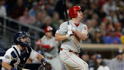 <p>               Philadelphia Phillies' Jay Bruce watches his grand slam during the fifth inning of the team's baseball game against the San Diego Padres, Tuesday, June 4, 2019, in San Diego. (AP Photo/Gregory Bull)             </p>