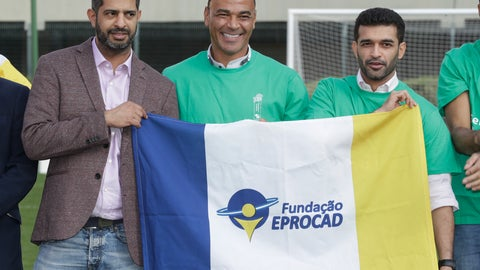 <p>               Former Brazilian soccer player Cafu, center, poses for a photo with Hassan Al Thawadi, left, Chairman of the FIFA World Cup Qatar 2022, and Nasser Al-Khater, right, deputy-secretary general of the Qatar 2022 organizing committee, during a event where Cafu was presented as an Ambassador for the World Cup 2022, in Sao Paulo, Brazil, Friday, June 21, 2019. (AP Photo/Andre Penner)             </p>