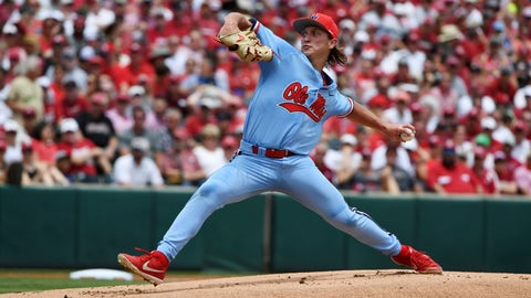 <p>               Mississippi pitcher Doug Nikhazy throws a pitch against Arkansas during the first inning of Game 2 at the NCAA college baseball super regional tournament Sunday, June 9, 2019, in Fayetteville, Ark. (AP Photo/Michael Woods)             </p>