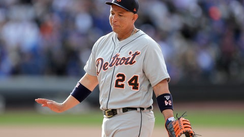 <p>               Detroit Tigers first baseman Miguel Cabrera talks to New York Mets players in their dugout during the seventh inning of an interleague baseball game, Saturday, May 25, 2019, in New York. (AP Photo/Julio Cortez)             </p>