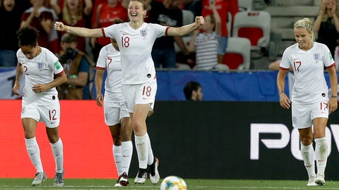 <p>               England's Ellen White, front, celebrates after scoring her side's second goal during the Women's World Cup Group D soccer match between Japan and England at the Stade de Nice in Nice, France, Wednesday, June 19, 2019. (AP Photo/Claude Paris)             </p>