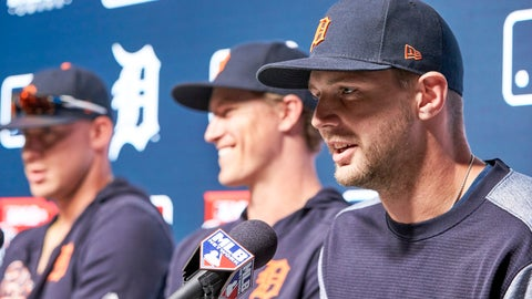 <p>               Detroit Tigers' Grayson Greiner, right, talks during a news conference with teammates Brandon Dixon and JaCoby Jones, left, ahead of a baseball game between the Tigers and the Kansas City Royals at TD Ameritrade Park in Omaha, Neb., Thursday, June 13, 2019. (AP Photo/Nati Harnik)             </p>