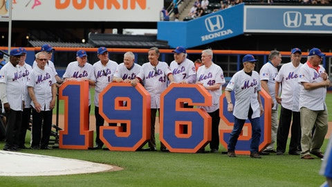 <p>               The 1969 mets leave the field after a pre-game ceremony to honor them before a baseball game against the Atlanta Braves Saturday, June 29, 2019, in New York. (AP Photo/Frank Franklin II)             </p>