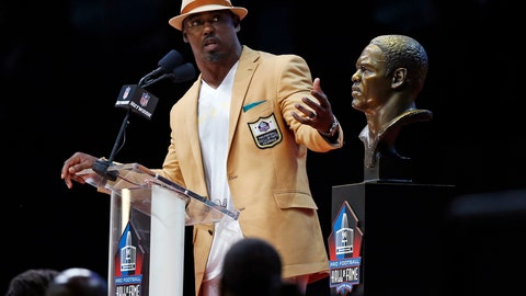 <p>               FILE - In this Saturday, Aug. 4, 2018 file photo, Former NFL player Brian Dawkins delivers his speech during an induction ceremony at the Pro Football Hall of Fame in Canton, Ohio. Brian Dawkins is tackling mental health issues the same aggressive way he took on anyone who dared cross the middle during his Hall of Fame career as a safety for the Philadelphia Eagles and Denver Broncos. Since revealing he suffered from depression and had suicidal thoughts early in his playing career, Dawkins has been on a mission to spread awareness. (AP Photo/Ron Schwane, File)             </p>