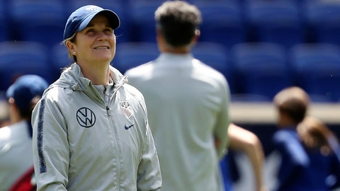 <p>               FILE - In this Saturday, May 25, 2019, file photo, United States women's national soccer team head coach Jill Ellis smiles during a training session at Red Bull Arena in Harrison, N.J. Ellis has criticized FIFA, soccer's international governing body, for scheduling two other finals, for the CONCACAF Gold Cup and the Copa America, on the same day as the Women's World Cup championship game. (AP Photo/Steve Luciano, File)             </p>