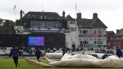 <p>               Ground staff pull rain covers on the pitch as the rain delays start of the Cricket World Cup match between India and New Zealand at Trent Bridge in Nottingham, Thursday, June 13, 2019. (AP Photo/Rui Vieira)             </p>