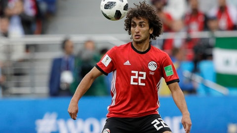 """<p>               FILE - In this Friday, June 15, 2018 file photo, Egypt's Amr Warda watches the ball during their group A match against Uruguay at the 2018 soccer World Cup in the Yekaterinburg Arena in Yekaterinburg, Russia. Egypt has expelled midfielder Amr Warda from its squad for the rest of the African Cup of Nations for a beach of discipline after he allegedly sexually harassed women on social media. The Egyptian Football Association said Wednesday, June 26, 2019 and just hours before the host's game against Congo that Warda had been thrown out in order to maintain """"discipline, commitment and focus"""" in the team.(AP Photo/Mark Baker, file)             </p>"""
