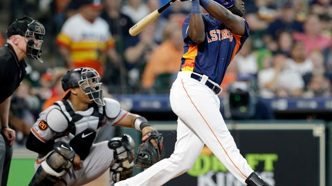 <p>               Houston Astros' Yordan Alvarez, right, watches his two-run home run in front of Baltimore Orioles catcher Pedro Severino, center, and umpire Lance Barksdale, left, during the fourth inning of a baseball game Sunday, June 9, 2019, in Houston. (AP Photo/Michael Wyke)             </p>