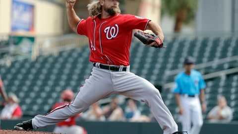 <p>               FILE - In this March 1, 2019, file photo, Washington Nationals pitcher Trevor Rosenthal throws during the third inning of an exhibition spring training baseball game against the Miami Marlins, in Jupiter, Fla. Rosenthal has been released by the Nationals, who ran out patience waiting for the reliever to return to form. Rosenthal ends his three-month stint in Washington with a 0-1 record and an unsightly 22.74 ERA. The Nationals made the move Sunday, June 23, 2019 less than 24 hours after he walked all three batters he faced in a 13-9 loss to Atlanta. (AP Photo/Jeff Roberson, File)             </p>