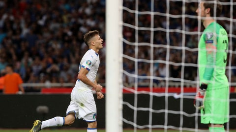 <p>               Italy's Nicolo Barella, left, reacts after scoring against Greece, during the Euro 2020 group J qualifying soccer match between Greece and Italy at Olympic stadium in Athens, Saturday, June 8, 2019. (AP Photo/Yorgos Karahalis)             </p>