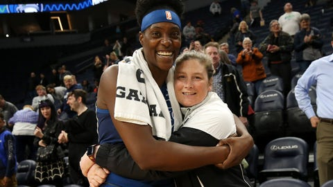 MINNEAPOLIS, MN- MAY 10:  Sylvia Fowles #34 hugs Retired Minnesota Lynx Player Lindsay Whalen after the game against the Washington Mystics on May 10, 2019 at the Target Center in Minneapolis, Minnesota. NOTE TO USER: User expressly acknowledges and agrees that, by downloading and or using this photograph, User is consenting to the terms and conditions of the Getty Images License Agreement. Mandatory Copyright Notice: Copyright 2019 NBAE  (Photo by David Sherman/NBAE via Getty Images)