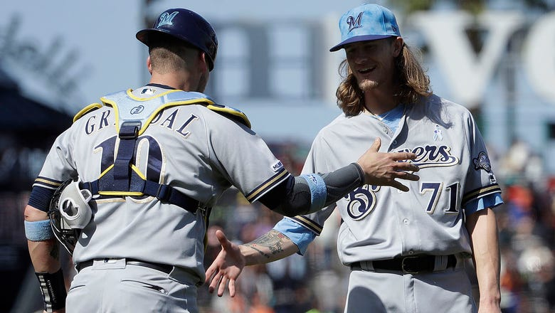 Thames, Aguilar homer as Brewers avoid sweep in San Francisco