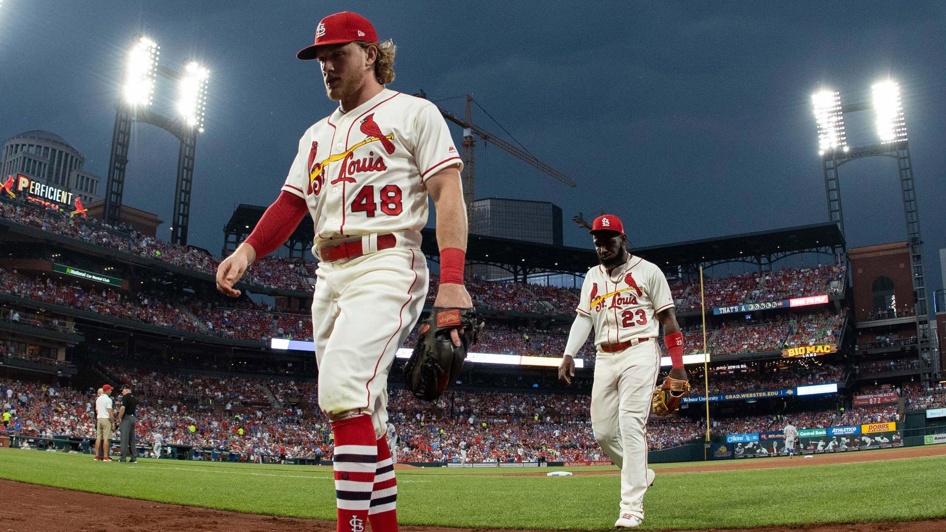 def6502c Cardinals wait out hours-long rain delay, top Cubs 7-4 | FOX Sports