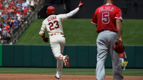 Jun 22, 2019; St. Louis, MO, USA; St. Louis Cardinals left fielder Marcell Ozuna (23) rounds first base after hitting a two run home run against the Los Angeles Angels during the sixth inning at Busch Stadium. Mandatory Credit: Joe Puetz-USA TODAY Sports