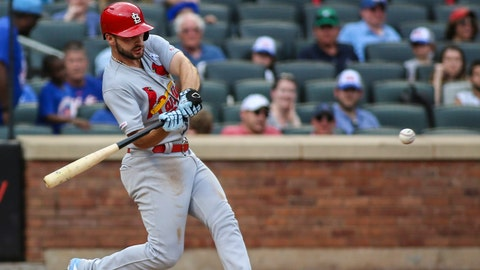 Jun 16, 2019; New York City, NY, USA; St. Louis Cardinals shortstop Paul DeJong (12) hits a solo home run against the New York Mets in the eighth inning at Citi Field. Mandatory Credit: Wendell Cruz-USA TODAY Sports