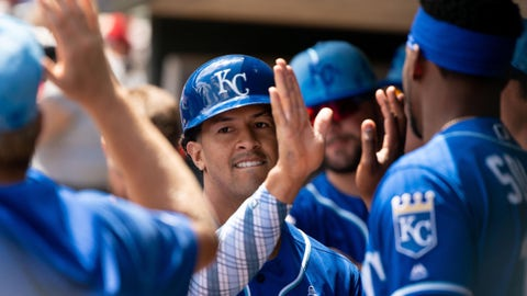 Jun 16, 2019; Minneapolis, MN, USA; Kansas City Royals third baseman Cheslor Cuthbert (19) celebrates his run in the second inning against Minnesota Twins at Target Field. Mandatory Credit: Brad Rempel-USA TODAY Sports